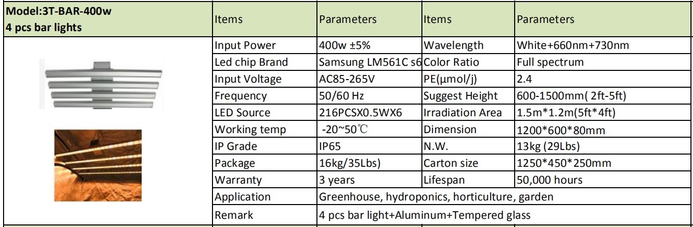 Dimmable ,Samsung chips and Inventronics drivers 400w 600w 800w 1000w Led bar lights with full spectrum