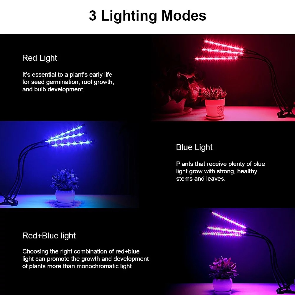Three head  360 degree adjustment 36W Flexible Clip Led Plant Grow Light